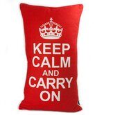 Keep Calm Pillow in White on Red