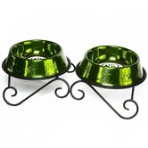 Double Diner Stand with 2 Dog Bowl in Corona Lime