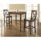 Three Piece Pub Dining Set with Turned Leg Table and X-Back Barstools in Vintage Mahogany