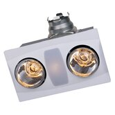 Two Bulb Quiet Bathroom Heater Fan with Light