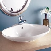 Classically Redefined 24.75&quot; Oval Ceramic Vessel Sink with Overflow