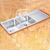 "Gourmet 22""x48"" 3-Hole Self Rimming Left Handed Double Bowl Kitchen Sink with Optional Chrome Plated Basket Strainer"
