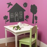 House and Trees Chalkboard Vinyl Peel and Stick Mural