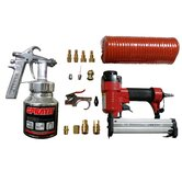 GHK  16 Piece Spray Gun,  Brad Naller/Stapler Combo Gun, Hose and Air Tool Kit