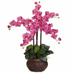 Phalaenopsis with Decorative Vase Silk Flower Arrangement in Dark Pink