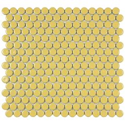 "Penny 3/4"" x 3/4"" Porcelain Glazed and Glossy Mosaic in Vintage Yellow"