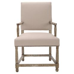 Angel Distressed Arm Chair in Pickled Oak
