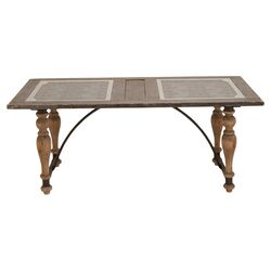 Metal Glass Dining Table in Natural