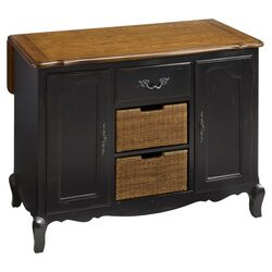 French Countryside Oak Top Kitchen Island in Black
