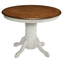 French Countryside Oak Top Dining Table in White
