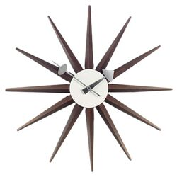 Nelson Sunburst Wall Clock in Walnut