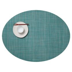 Oval Basketweave Placemat in Turquoise