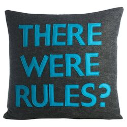 There Were Rules Throw Pillow in Charcoal & Turquoise