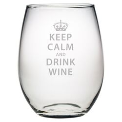 Keep Calm & Drink Wine Stemless Wine Glass