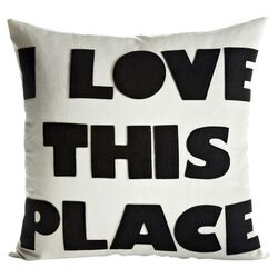 I Love This Place Throw Pillow in Cream & Black