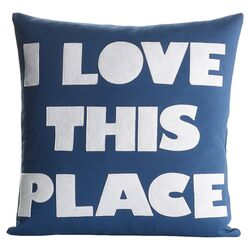 I Love This Place Throw Pillow in Blue & White