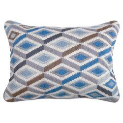Jonathan Adler Bargello Diamonds Pillow in Blue & Gray