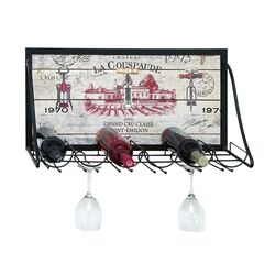 Vintage Vineyard 6 Bottle Wine Rack in Black