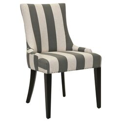 Becca Striped Parsons Chair in Gray & White