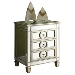Mirrored 3 Drawer Nightstand in Silver