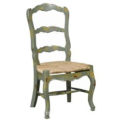 French Side Chair in Antique Green (Set of 2)