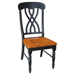 Latticeback Side Chair in Black & Cherry (Set of 2)