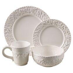 Bianca Leaf 16 Piece Dinnerware Set in White