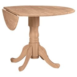 Round Unfinished Dual Drop Leaf Dining Table