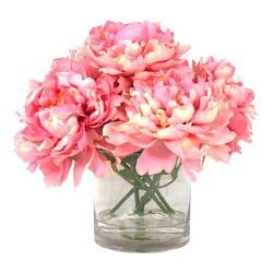 Peonies in Acrylic Water Vase in Pink