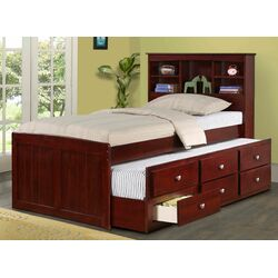 Donco Kids Captain Bed With Trundle And Bookcase Reviews Wayfair