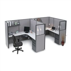 Two Person L-Shape Desk Office Suite