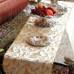 Violet Linen Luxury Damask Design Table Runner & Reviews | Wayfair