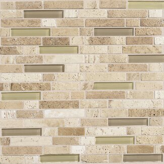 "Daltile Stone Radiance 12"" x 12"" Random Mosaic Tile Blend in Mushroom / Morning Sun"