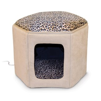 K&H Manufacturing Thermo-Kitty Heated Sleep House in Tan / Leopard