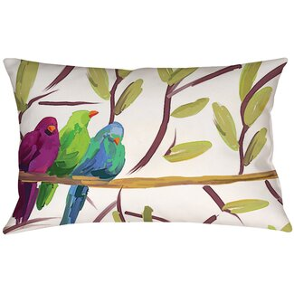 Manual Woodworkers & Weavers Flocked Together Birds Lumbar Pillow