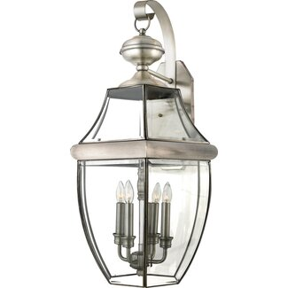 "Quoizel Newbury 29"" Outdoor Wall Lantern in Pewter"
