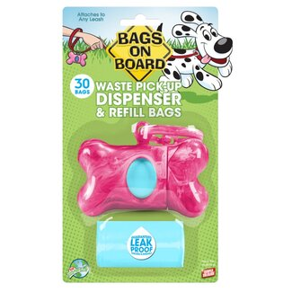 Bags on Board Marble Bone Poop Pickup Bag Dispenser in Pink (30 Bags)
