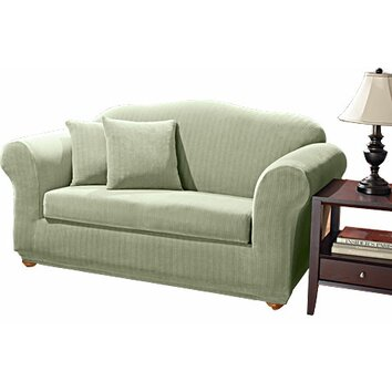 stretch pinstripe two piece sofa slipcover wayfair. Black Bedroom Furniture Sets. Home Design Ideas