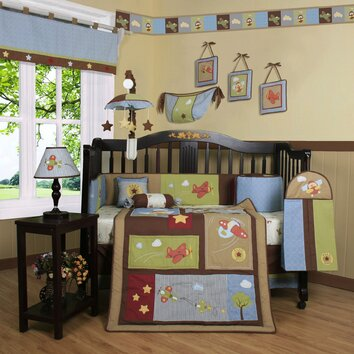 Geenny boutique airplane aviator 13 piece crib bedding set reviews wayfair - Airplane baby bedding sets ...