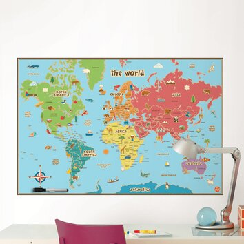 Wallpops dry erase kids world map wall decal reviews for Dry erase world map wall mural