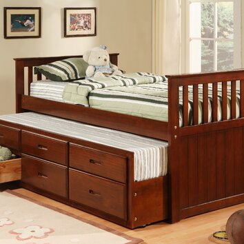 williams import co twin captain bed in cherry reviews wayfair. Black Bedroom Furniture Sets. Home Design Ideas