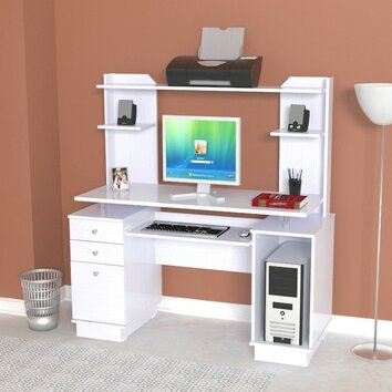 Inval Laura Computer Workcenter With Hutch Amp Reviews Wayfair