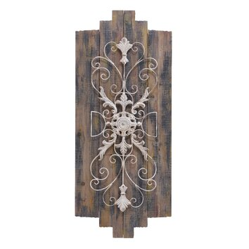 woodland imports gray wood metal plaque wall decor wayfair. Black Bedroom Furniture Sets. Home Design Ideas