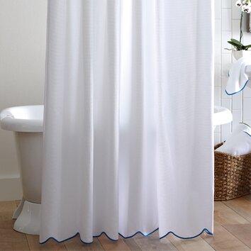 Peacock Alley Scalloped Pique Cotton Shower Curtain Reviews Wayfair