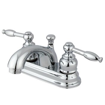 Centerset Bathroom Faucet with Double Lever Handles Finish: Polished Brass