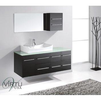 Virtu ultra modern 53 single bathroom vanity set with mirror reviews wayfair for Ultra bathroom vanities burbank