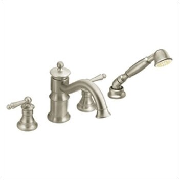 Moen Waterhill Double Handle Roman Tub Faucet With Built In Hand Shower Diver
