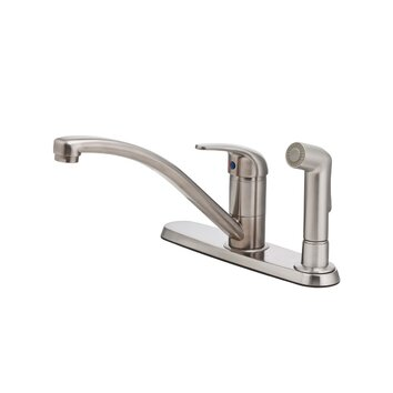 pfister pfirst series single handle centerset kitchen faucet with side