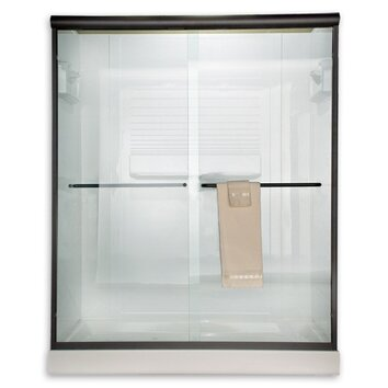 Euro frameless bypass shower door with rain glass wayfair