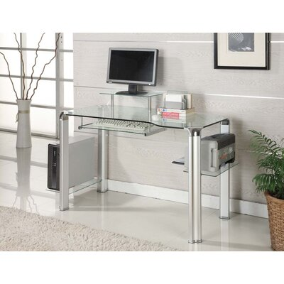 Glass Computer Desk with Tower Shelft